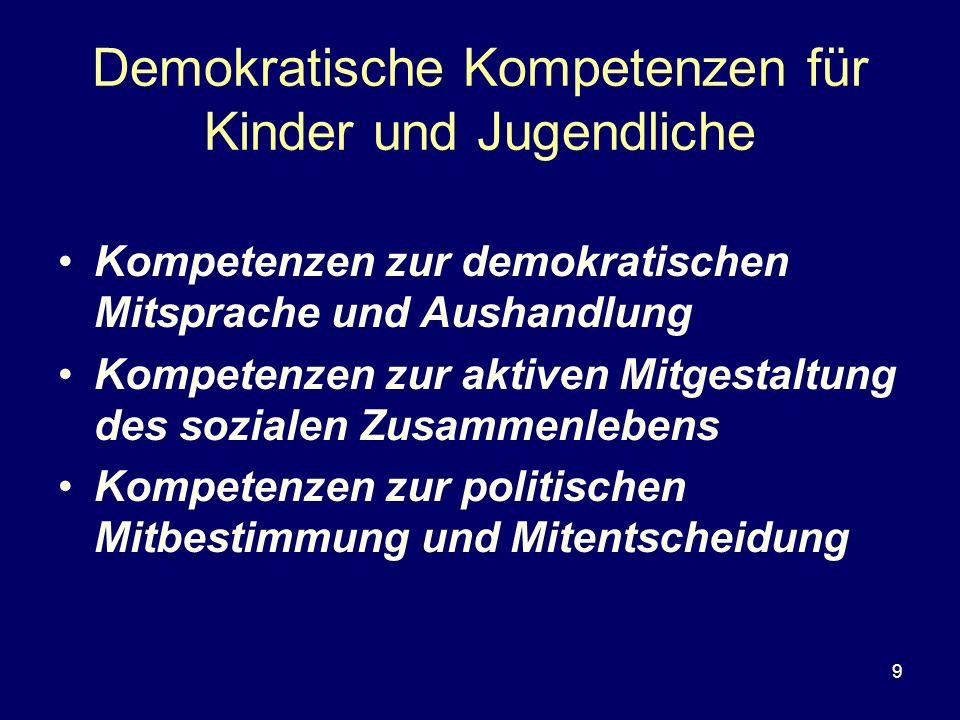 Demokratische Kompetenzen für Kinder und Jugendliche