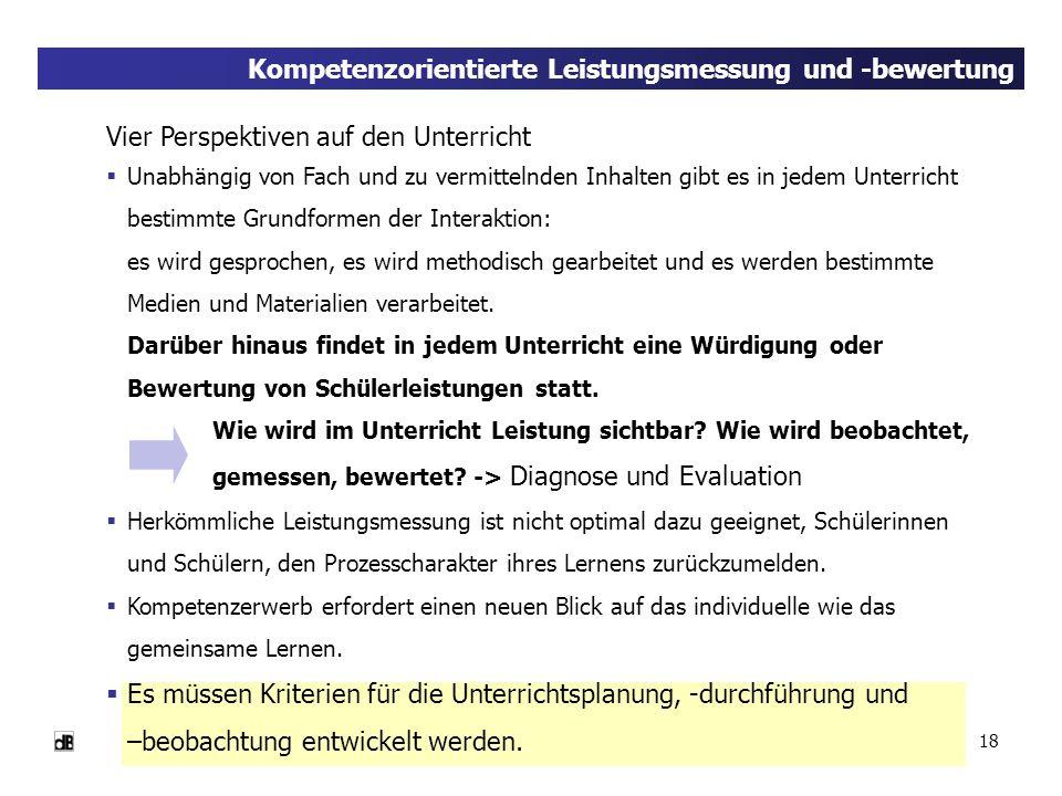 Kompetenzorientierte Leistungsmessung und -bewertung