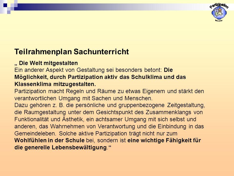 """Partizipation Teilrahmenplan Sachunterricht """" Die Welt mitgestalten"""