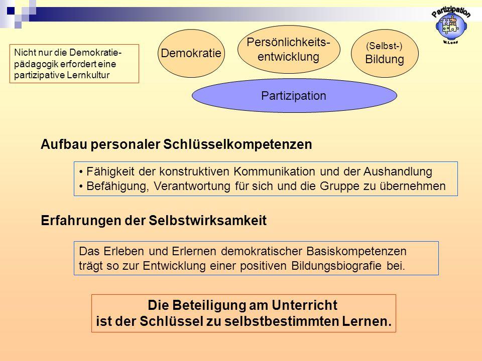 Partizipation Aufbau personaler Schlüsselkompetenzen