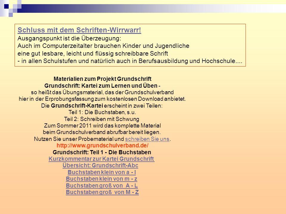 Materialien zum Projekt Grundschrift