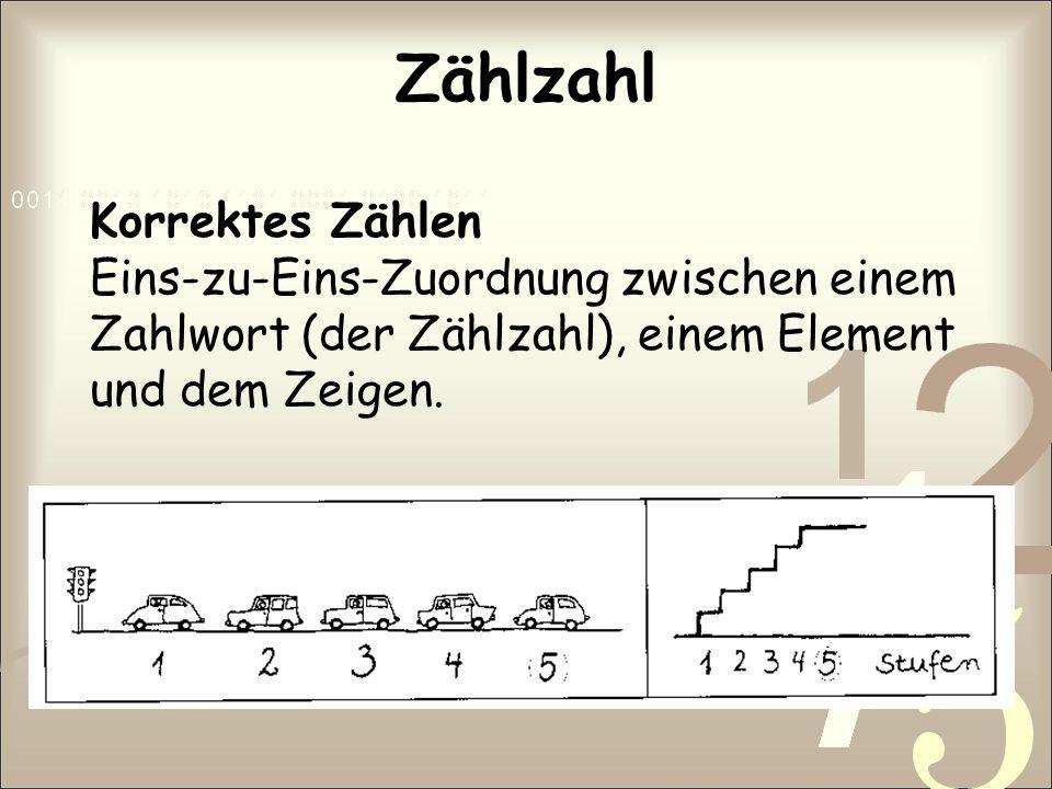 Zählzahl Korrektes Zählen Eins-zu-Eins-Zuordnung zwischen einem Zahlwort (der Zählzahl), einem Element und dem Zeigen.