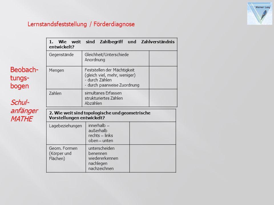 Beobach- tungs- bogen Schul- anfänger MATHE