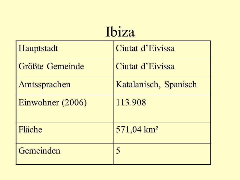 Ibiza Hauptstadt Ciutat d'Eivissa Größte Gemeinde Amtssprachen