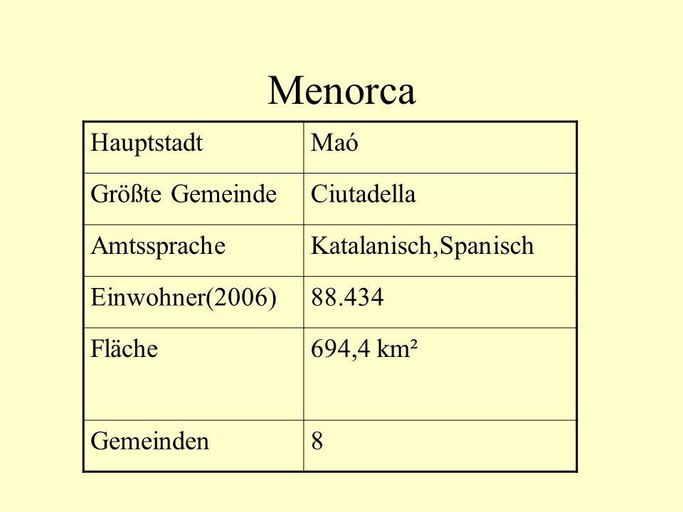 Menorca Hauptstadt Maó Größte Gemeinde Ciutadella Amtssprache