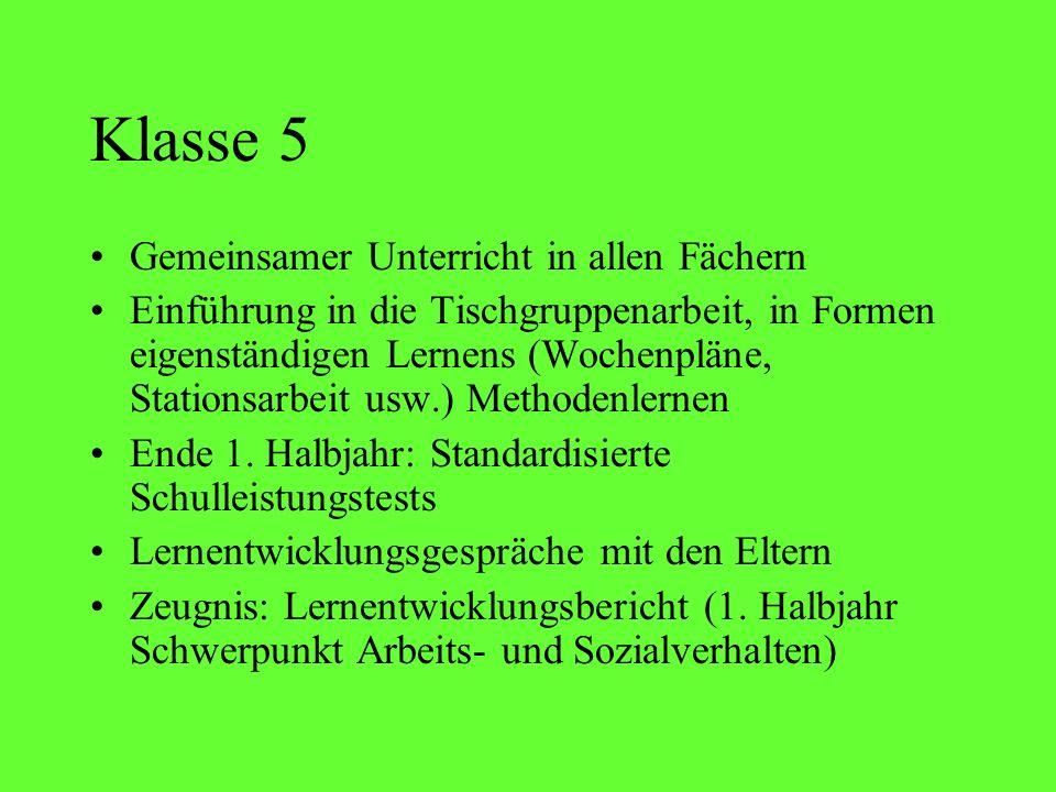Klasse 5 Gemeinsamer Unterricht in allen Fächern