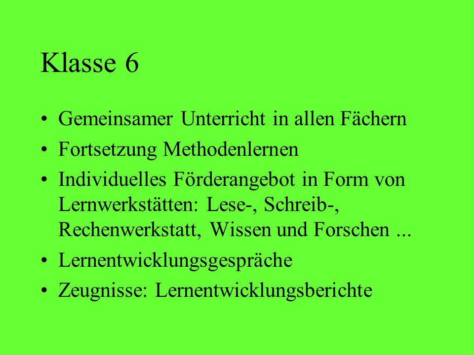 Klasse 6 Gemeinsamer Unterricht in allen Fächern