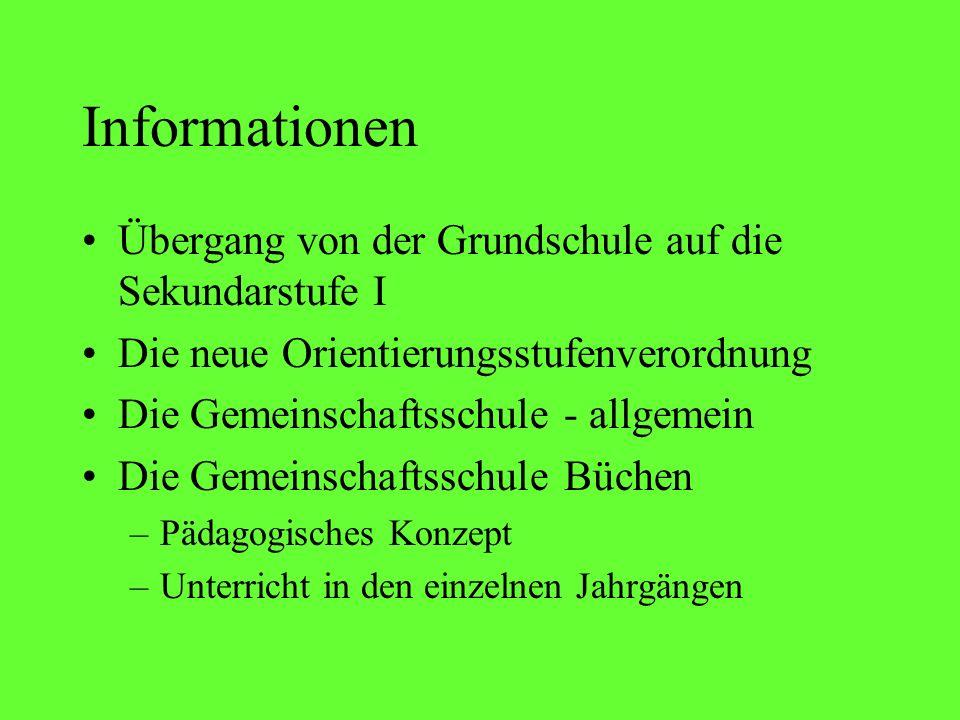 Informationen Übergang von der Grundschule auf die Sekundarstufe I