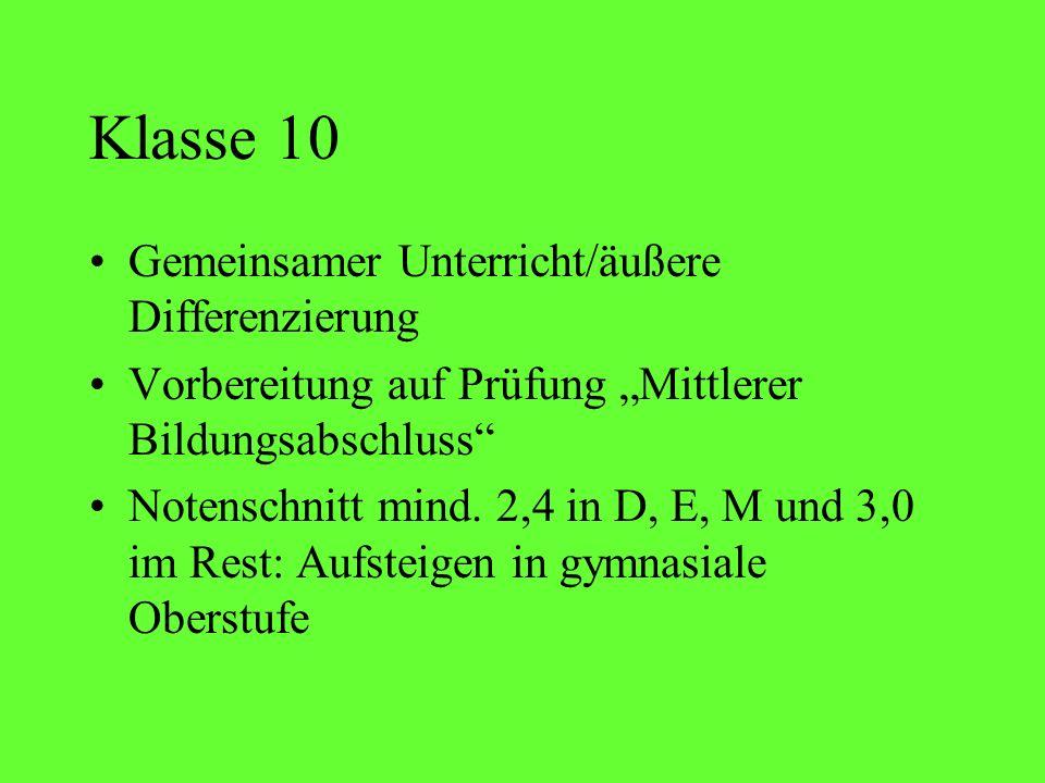 Klasse 10 Gemeinsamer Unterricht/äußere Differenzierung