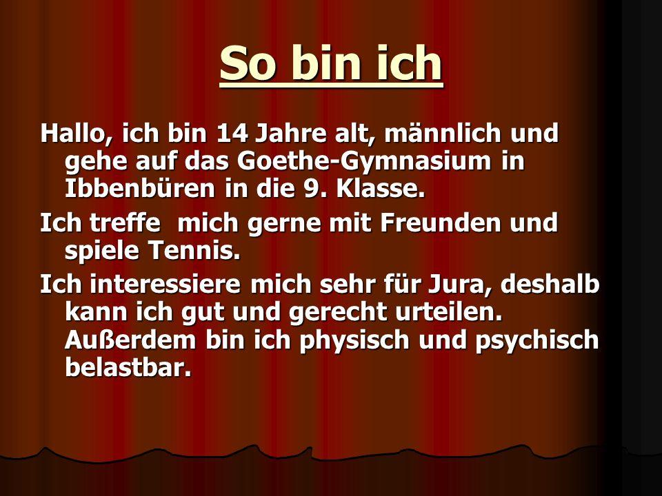 So bin ich Hallo, ich bin 14 Jahre alt, männlich und gehe auf das Goethe-Gymnasium in Ibbenbüren in die 9. Klasse.
