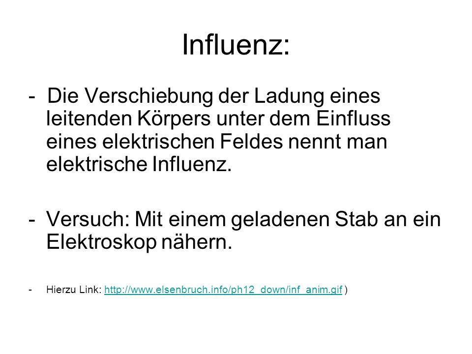 Influenz: - Die Verschiebung der Ladung eines leitenden Körpers unter dem Einfluss eines elektrischen Feldes nennt man elektrische Influenz.