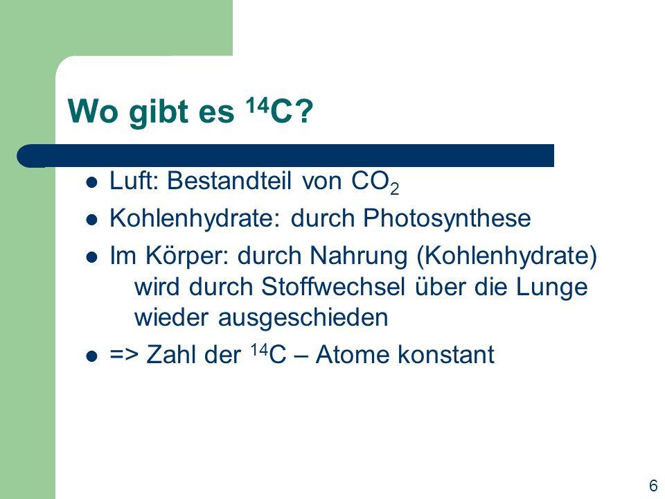 Wo gibt es 14C Luft: Bestandteil von CO2