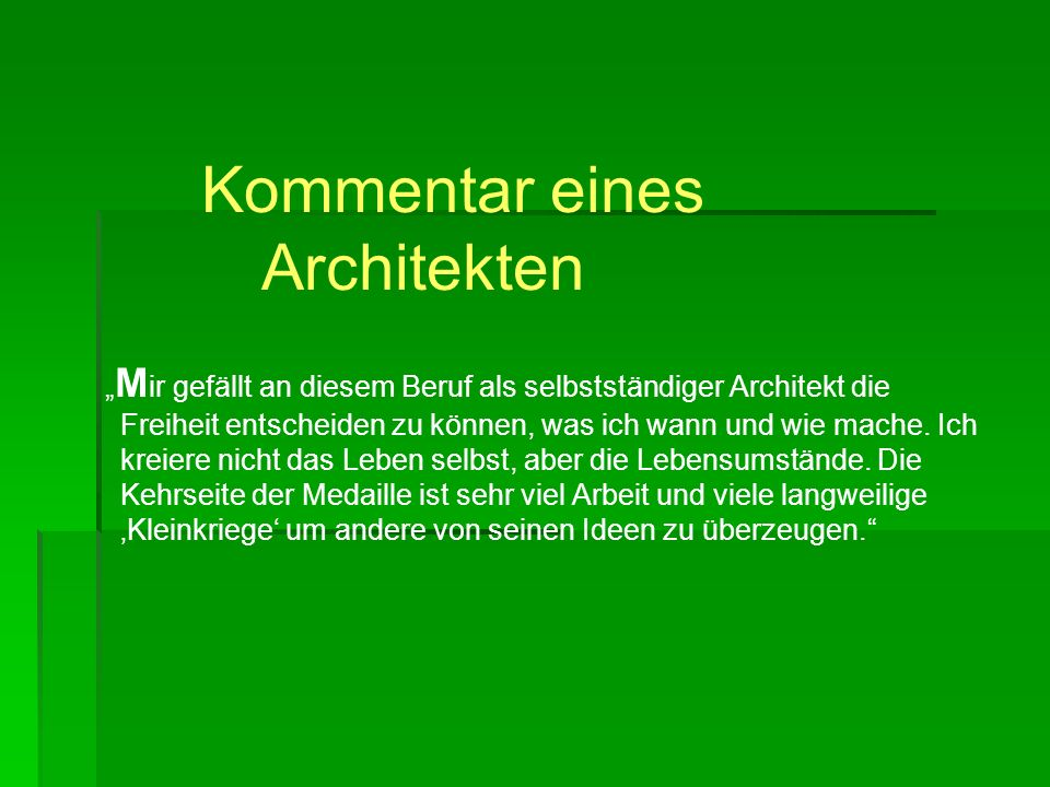 traumberuf architektin ppt video online herunterladen. Black Bedroom Furniture Sets. Home Design Ideas