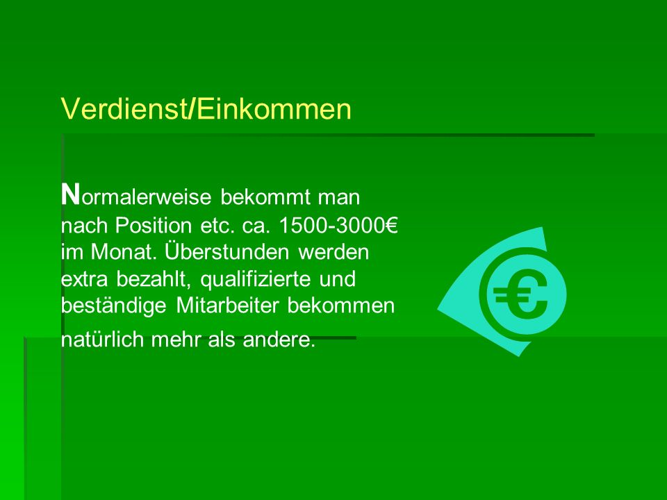 Verdienst/Einkommen