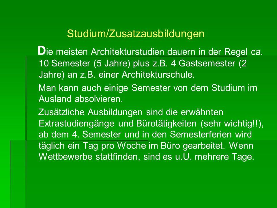 Studium/Zusatzausbildungen