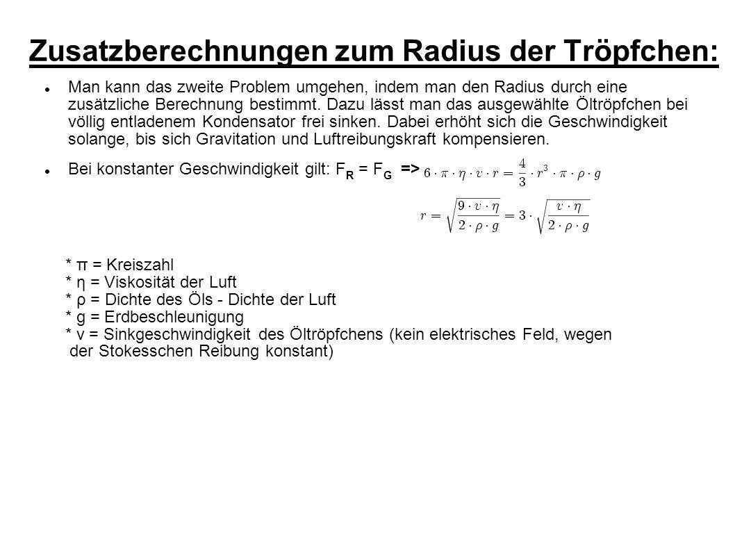Zusatzberechnungen zum Radius der Tröpfchen: