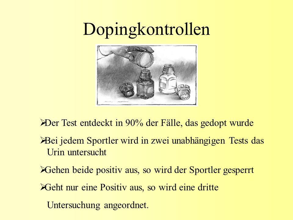 Dopingkontrollen Der Test entdeckt in 90% der Fälle, das gedopt wurde