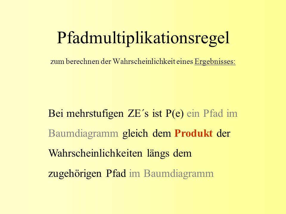 Pfadmultiplikationsregel zum berechnen der Wahrscheinlichkeit eines Ergebnisses: