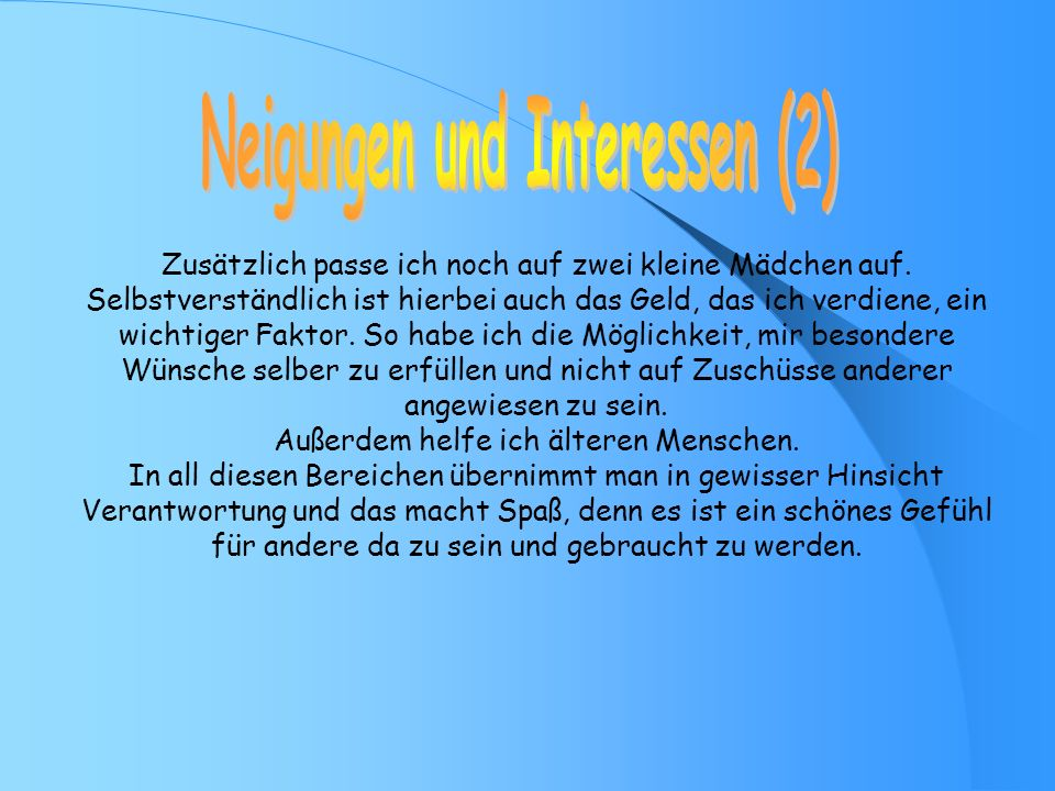 Neigungen und Interessen (2)