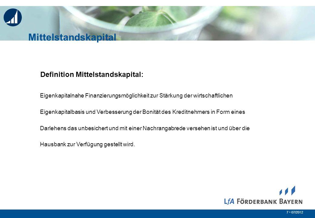 Mittelstandskapital Definition Mittelstandskapital:
