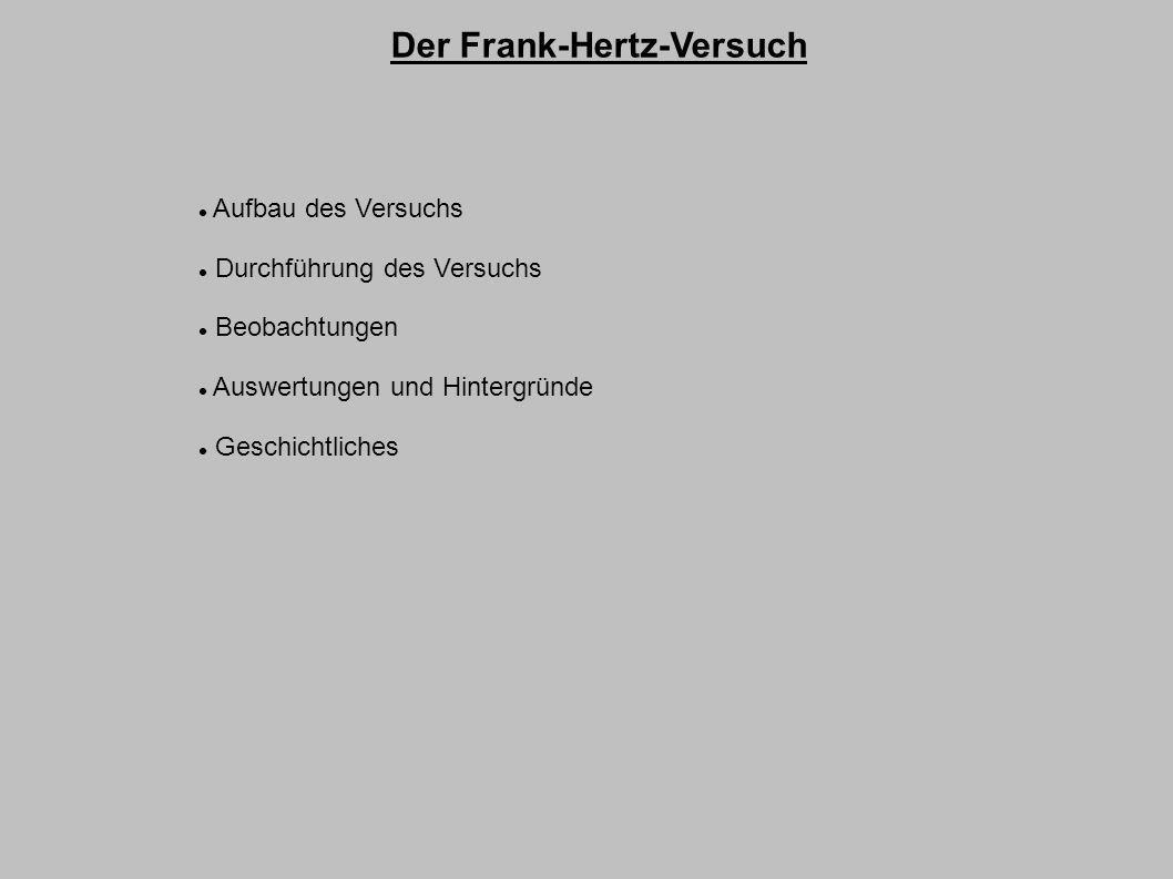 Der Frank-Hertz-Versuch