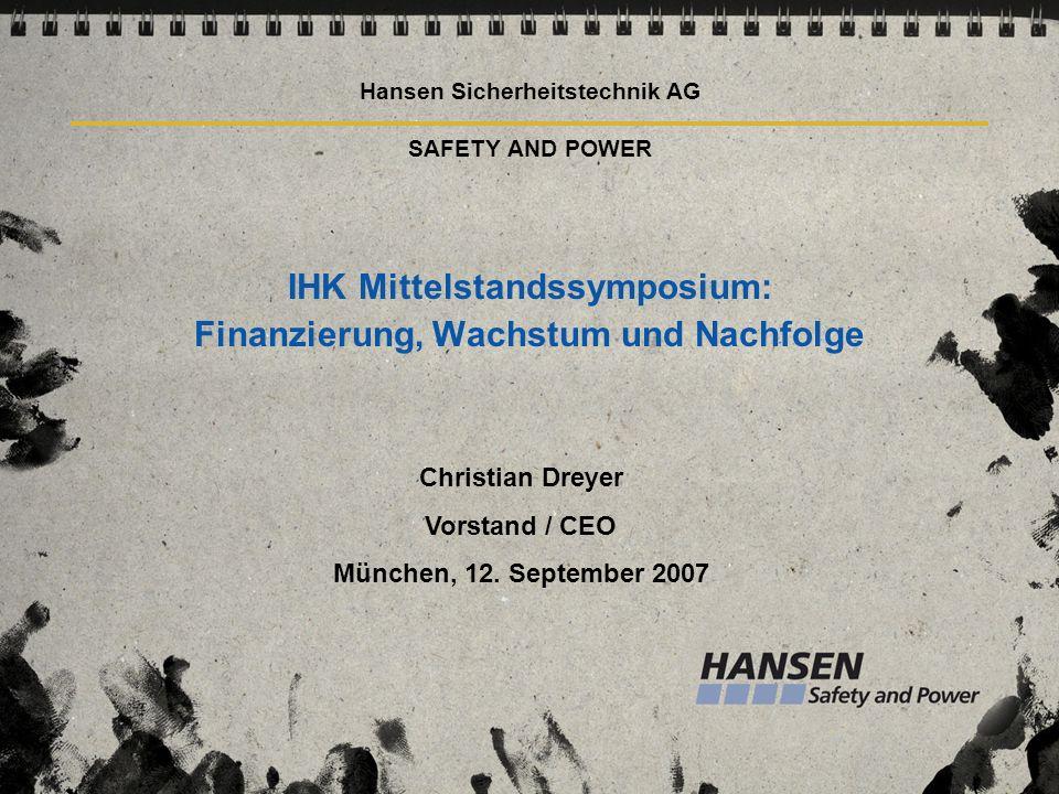 Hansen Sicherheitstechnik AG SAFETY AND POWER