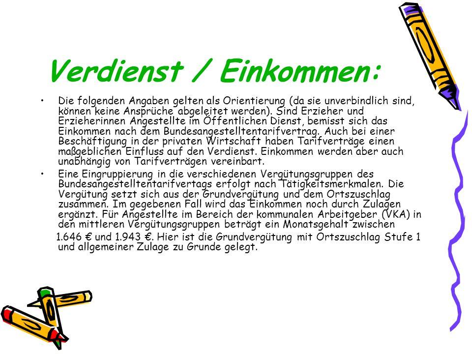 Verdienst / Einkommen: