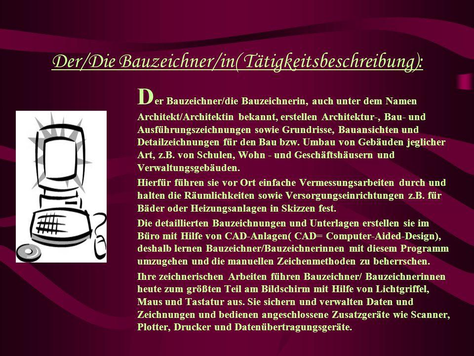 Der/Die Bauzeichner/in( Tätigkeitsbeschreibung):