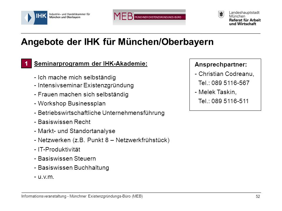Angebote der IHK für München/Oberbayern