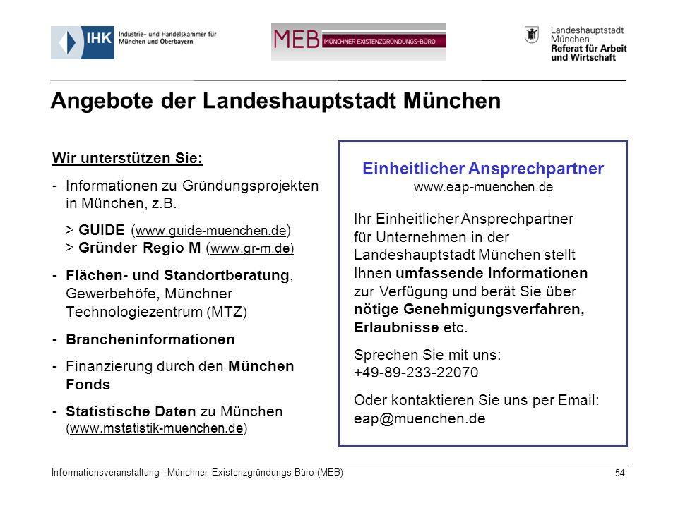 Angebote der Landeshauptstadt München