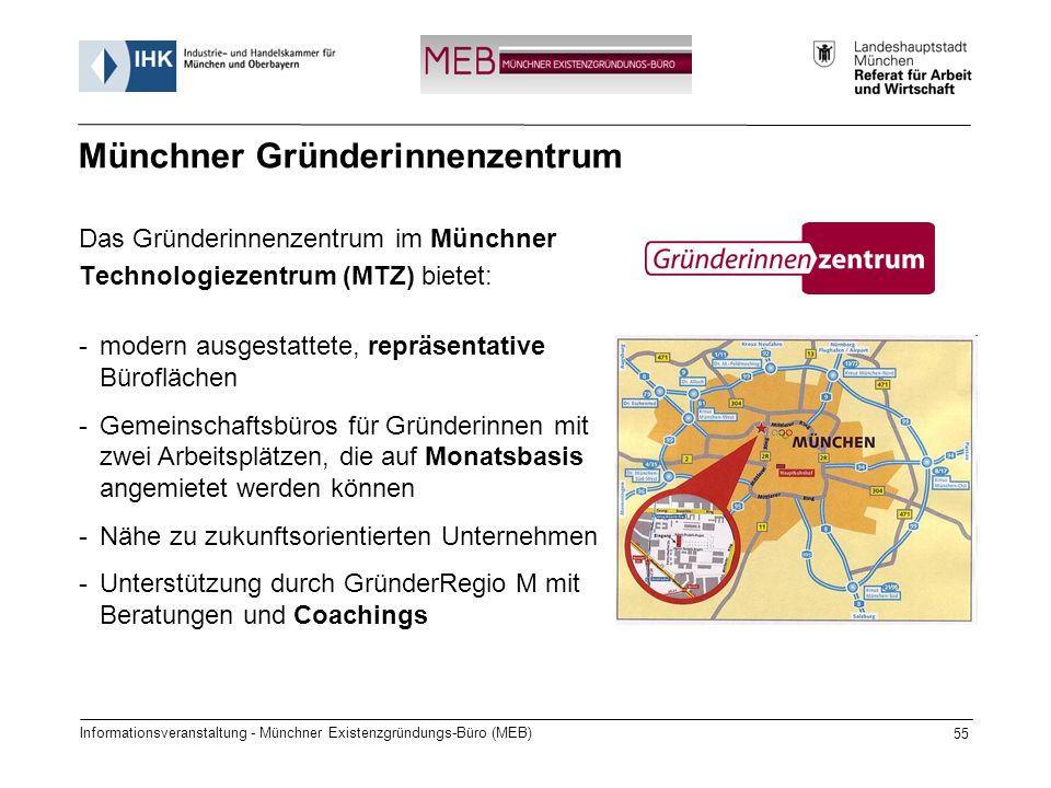 Das Gründerinnenzentrum im Münchner Technologiezentrum (MTZ) bietet: