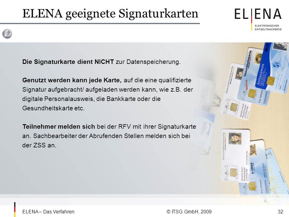 ELENA geeignete Signaturkarten