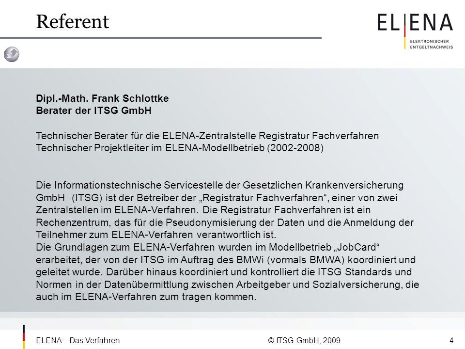 Referent Dipl.-Math. Frank Schlottke Berater der ITSG GmbH