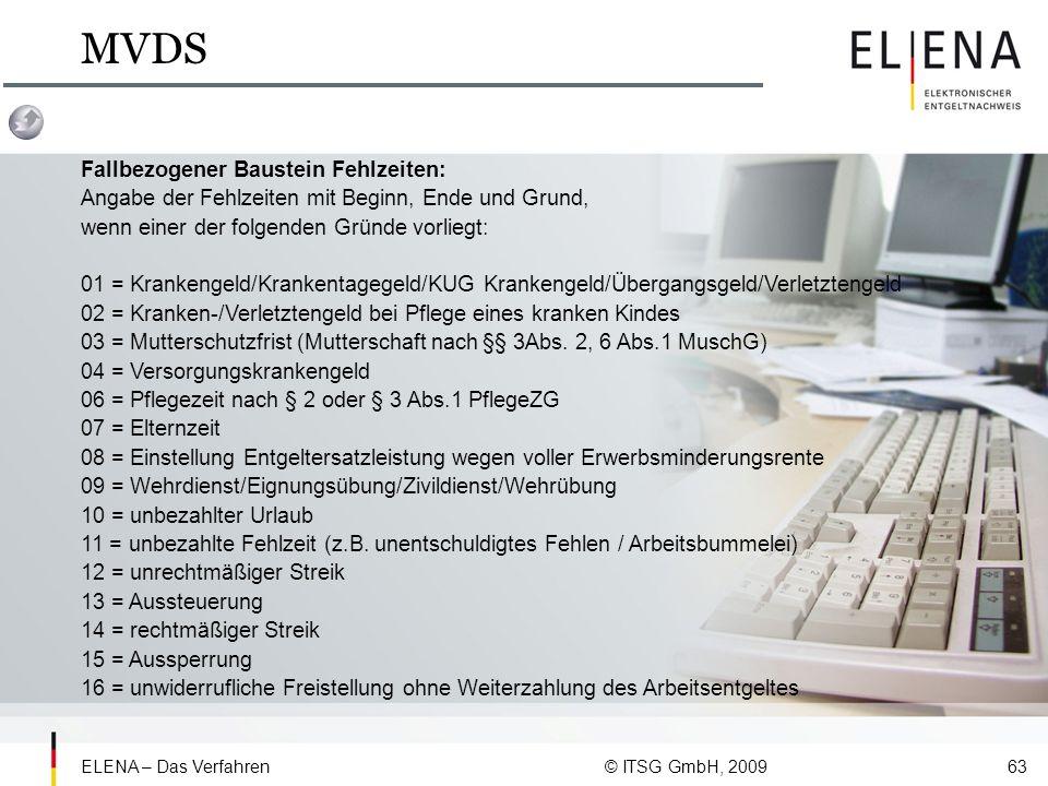 MVDS Fallbezogener Baustein Fehlzeiten: Angabe der Fehlzeiten mit Beginn, Ende und Grund, wenn einer der folgenden Gründe vorliegt: