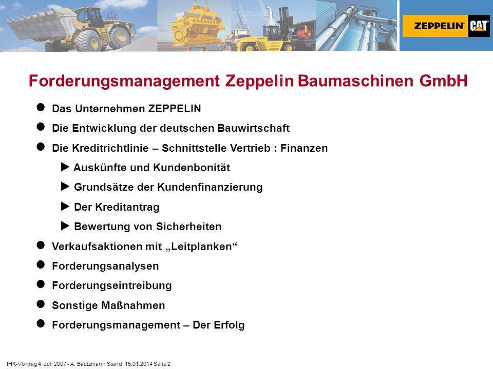 Forderungsmanagement Zeppelin Baumaschinen GmbH