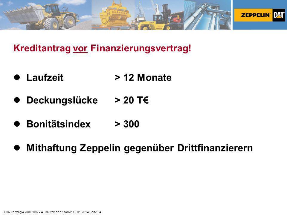 Kreditantrag vor Finanzierungsvertrag!