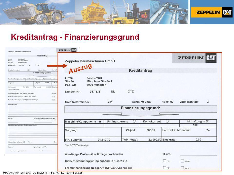 Kreditantrag - Finanzierungsgrund