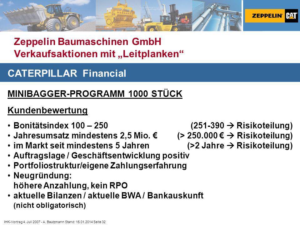 """Zeppelin Baumaschinen GmbH Verkaufsaktionen mit """"Leitplanken"""