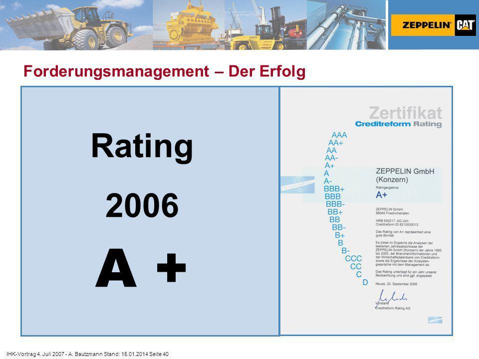 A + Rating 2006 Forderungsmanagement – Der Erfolg