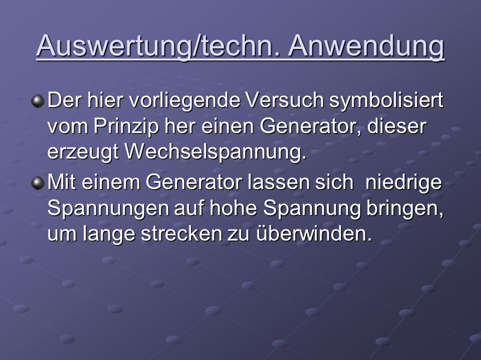 Auswertung/techn. Anwendung