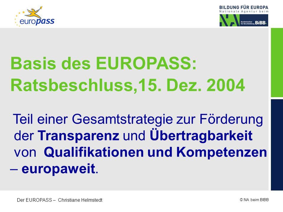 Basis des EUROPASS: Ratsbeschluss,15. Dez. 2004