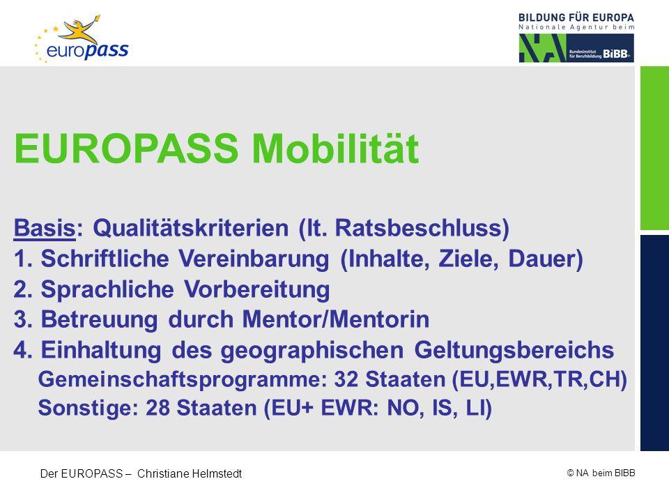 EUROPASS Mobilität Basis: Qualitätskriterien (lt. Ratsbeschluss)