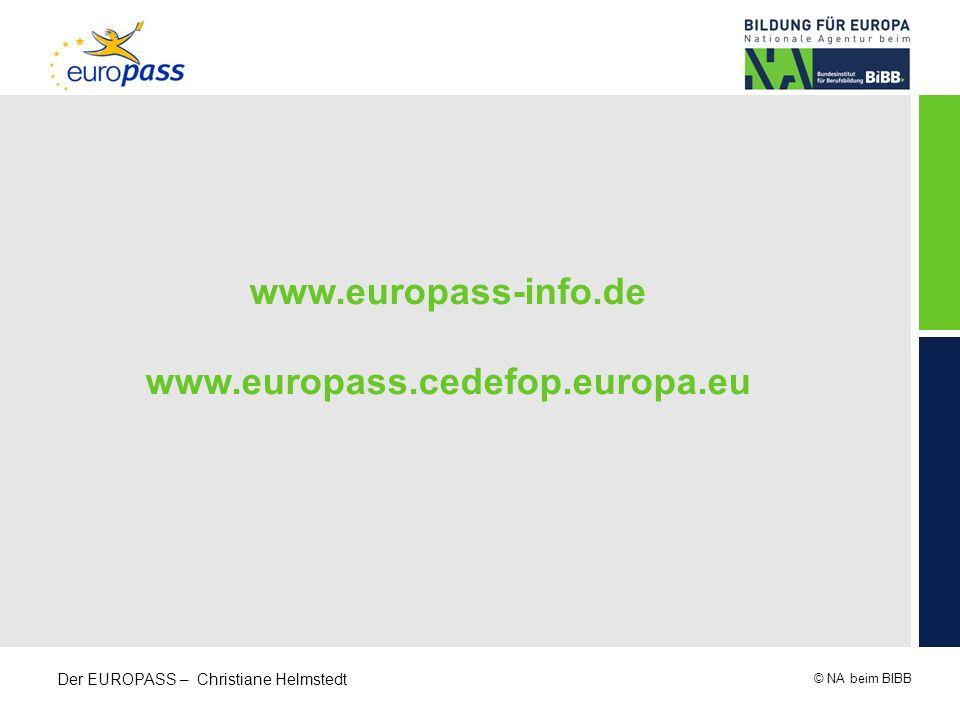 www.europass-info.de www.europass.cedefop.europa.eu