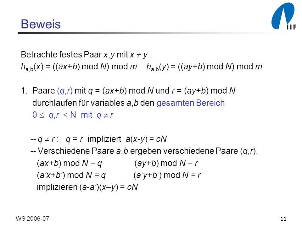 Beweis Betrachte festes Paar x,y mit x  y .