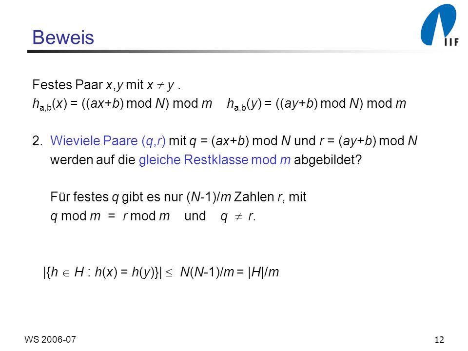 Beweis Festes Paar x,y mit x  y .