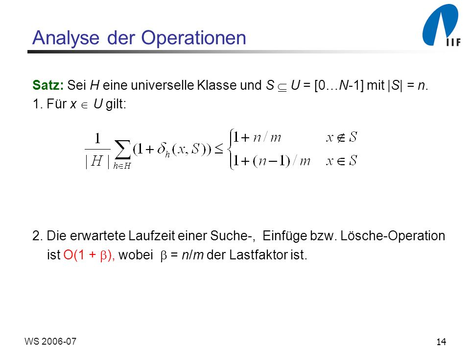 Analyse der Operationen