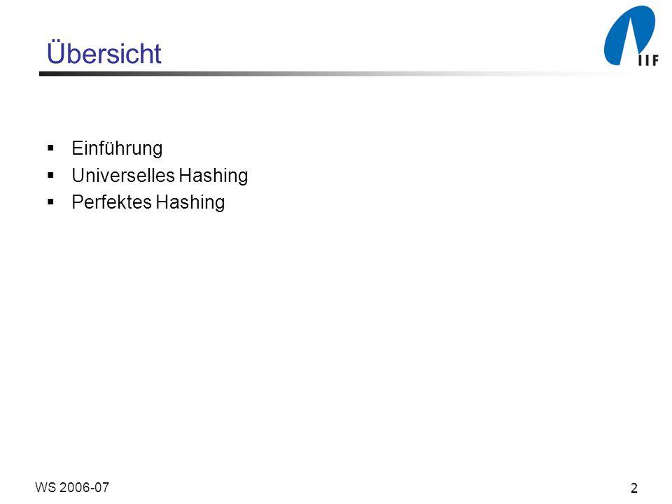 Übersicht Einführung Universelles Hashing Perfektes Hashing WS 2006-07