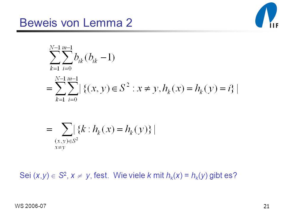 Beweis von Lemma 2 Sei (x,y)  S2, x  y, fest. Wie viele k mit hk(x) = hk(y) gibt es WS 2006-07