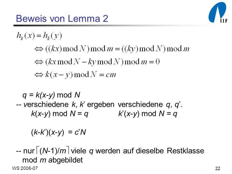 Beweis von Lemma 2 q = k(x-y) mod N
