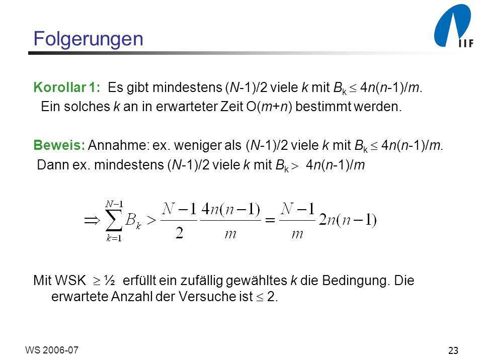 Folgerungen Korollar 1: Es gibt mindestens (N-1)/2 viele k mit Bk  4n(n-1)/m. Ein solches k an in erwarteter Zeit O(m+n) bestimmt werden.
